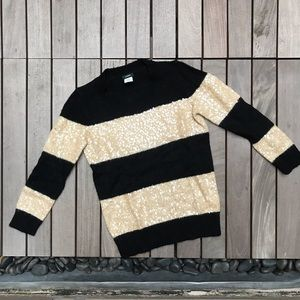 J CREW Gold Sequin Black Stripe Crew Neck Sweater